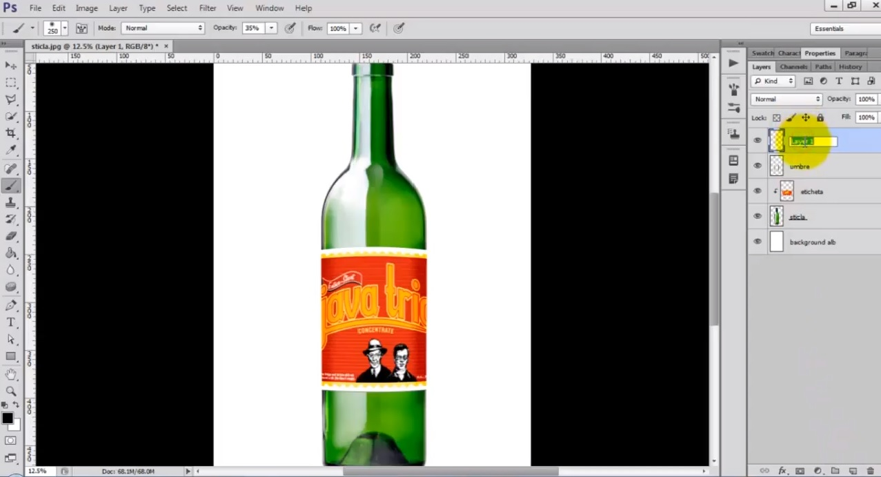 Cum sa punem o eticheta pe o sticla in Photoshop